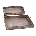Ridge Road Décor 2-Piece Distressed Wood Box Serving Tray Set in Brown