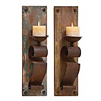 Ridge Road Décor Arabesque Wood/Iron Candle Sconces in Brown (Set of 2)