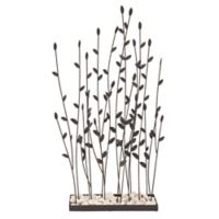 Ridge Road Décor Plant Screen Iron Sculpture with Rocks in Black