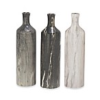 Ridge Road Décor 3-Piece Marbled Ceramic Round Bottle Vase Set in Grey