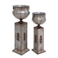 Ridge Road Décor 2-Piece Iron Pedestal Urn Vase Set in Grey