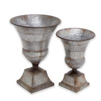 Ridge Road Décor 2-Piece Iron Chalice Vase Set in Grey