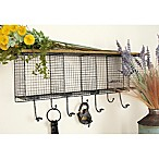 Ridge Road Décor Iron Wall Shelf with Baskets and Hooks in Black