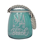 Sea You At The Beach Glass Jar in Teal
