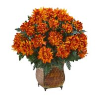Nearly Natural 21-inch Spider Mum Plant in Rustic Metal Planter
