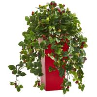 Nearly Natural 30-Inch Raspberry Plant in Red Planter
