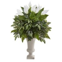 Nearly Natural 38-Inch Mixed Spathiphyllum in White Urn