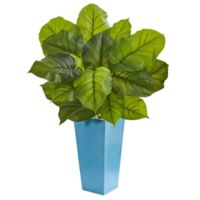 Nearly Natural 3-Foot Real-Touch Large Leaf Philodendron in Turquoise Planter