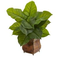 Nearly Natural 27-Inch Real-Touch Large Leaf Philodendron in Brown Metal Planter