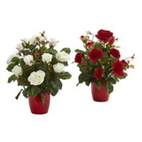 Nearly Natural 16-Inch Rose Bushes in Red Planters (Set of 2)