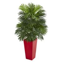 Nearly Natural 40-Inch Areca Palm in Red Planter
