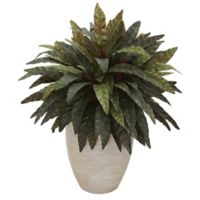 Nearly Natural 30-Inch Peacock Plant in Sand Textured Oval Planter