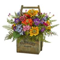 Nearly Natural 15-Inch Mixed Floral Arrangement in Wood Box