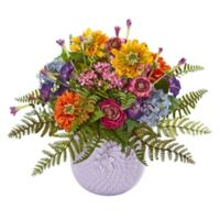 Nearly Natural 14-Inch Mixed Floral Arrangement in Purple Ceramic Pot