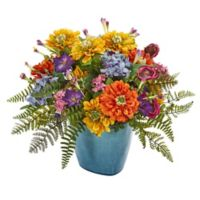 Nearly Natural 14-Inch Mixed Floral Arrangement in Blue Triangle Ceramic Pot