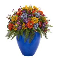 Nearly Natural 24-Inch Mixed Floral Arrangement in Blue Glazed Pot
