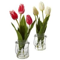 Nearly Natural 17-Inch Tulip Arrangements in Glass Canning Jars (Set of 2)
