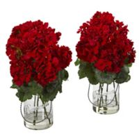 Nearly Natural 14-Inch Geranium Arrangements in Glass Canning Jars (Set of 2)