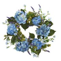 Nearly Natural 24-Inch Hydrangea Wreath in Blue