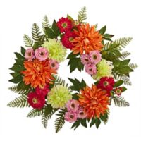 Nearly Natural 20-Inch Mixed Floral and Dahlia Wreath