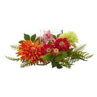 Nearly Natural 17-Inch Mixed Floral and Dahlia Candle Holder