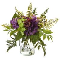 Nearly Natural 14-Inch Hydrangea and Berry Arrangement in Glass Canning Jar