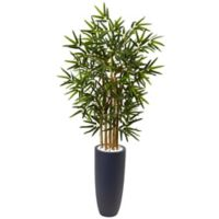 Nearly Natural 4-Foot Bamboo Tree in Grey Cylinder Planter