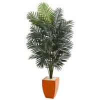Nearly Natural 6.5-Foot Paradise Artificial Palm Tree with Orange Planter