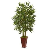 Nearly Natural 5.5-Foot Bamboo Tree in Wood Chinese Basket Planter