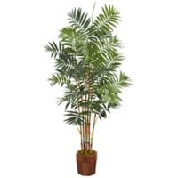 Nearly Natural 5.5-Foot Bamboo Palm Tree in Wood Chinese Basket Planter