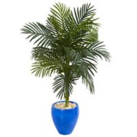 Nearly Natural 4.5-Foot Golden Cane Palm Tree in Blue Oval Planter