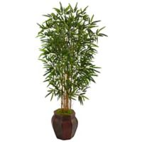 Nearly Natural 5-Foot Bamboo Palm Tree in Wood Chinese Basket Planter