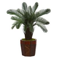 Nearly Natural 3-Foot Cycas Tree in Octagonal Bamboo Planter