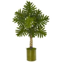 Nearly Natural 4.5-Foot Monstera Tree in Green Tin Bucket