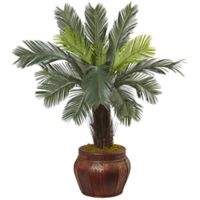 Nearly Natural 3.5-Foot Cycas Tree in Chinese Basket Planter