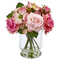 Nearly Natural 10-Inch Rose and Berry Arrangement in Glass Vase