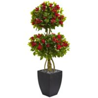 Nearly Natural 5-Foot Bougainvillea Double Ball Tree in Curved Slate Planter