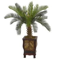 Nearly Natural 3-Foot Cycas Tree in Footed Wood Slatted Planter
