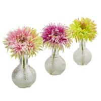 Nearly Natural 9-Inch Daisy Arrangements in Hobnail Glass Vases (Set of 3)