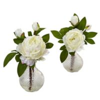 Nearly Natural 11-Inch Peony Arrangements in Hobnail Glass Vases (Set of 2)