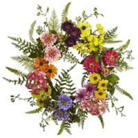 Nearly Natural 22-Inch Mixed Flower Wreath