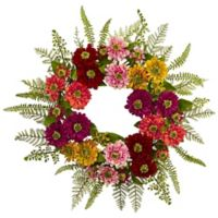 Nearly Natural 20-Inch Mixed Flower Wreath