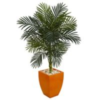 Nearly Natural 4.5-Foot Golden Cane Palm Tree in Orange Planter