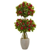 Nearly Natural 4.5-Foot Bougainvillea Double Ball Tree in Sand Textured Oval Planter