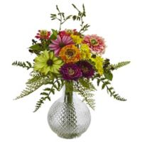 Nearly Natural 13-Inch Mixed Flower Arrangement in Glass Vase