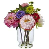 Nearly Natural 12-Inch Peony and Mum Arrangement in Glass Vase