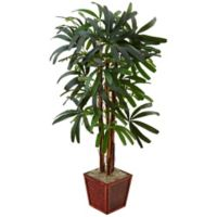 Nearly Natural 5-Foot Raphis Palm Tree with Bamboo Planter