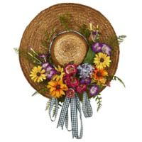 Nearly Natural 18-Inch Mixed Flower Garden Hat Wreath