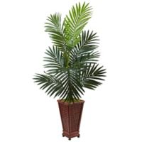 Nearly Natural 4.5-Foot Kentia Palm Tree in Wicker-Textured Wood Planter