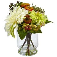 Nearly Natural 12-Inch Mixed Dahlia and Mum Arrangement in Glass Vase
